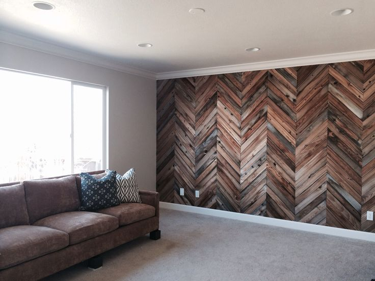 herringbone reclaimed wood wall basement pinterest