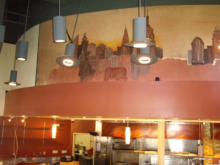 Restaurant cityscape mural products i love pinterest for Cityscape mural