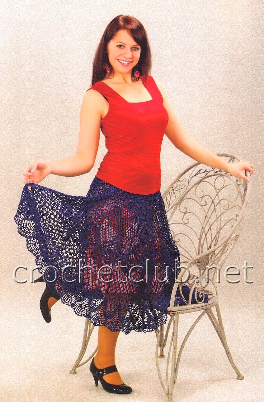 Длинная юбка крючком - Вязание Крючком. Блог Настика. Схемы, узоры, уроки бесплатно
