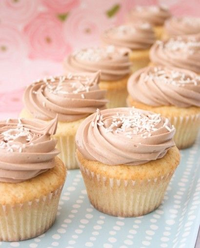 Vanilla Bean Buttermilk Cupcakes with Nutella buttercream frosting