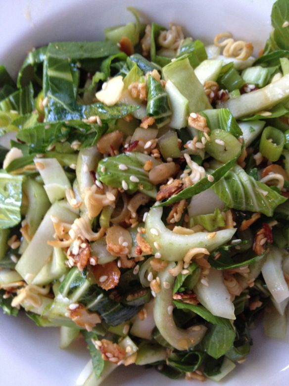 Baby Bok Choy Salad with Almond-Ramen Crunchies and Sesame Dressing