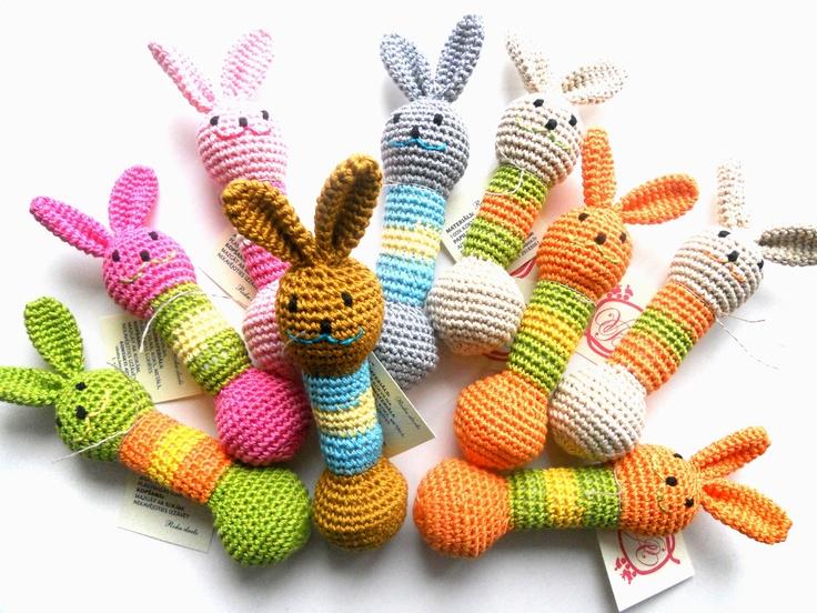Amigurumi Toys For Babies : Baby Teething toy Amigurumi Rabbit Rattle Crochet teether ...