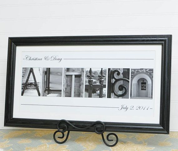 Wedding gift anniversary letter art personalized name for Architectural letter photos