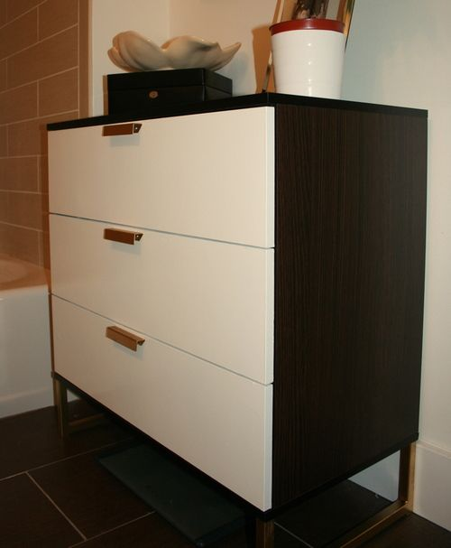 Ikea Düsseldorf Schminktisch ~ Ikea TRYSIL dresser makeover Cover drawer fronts with faux leather