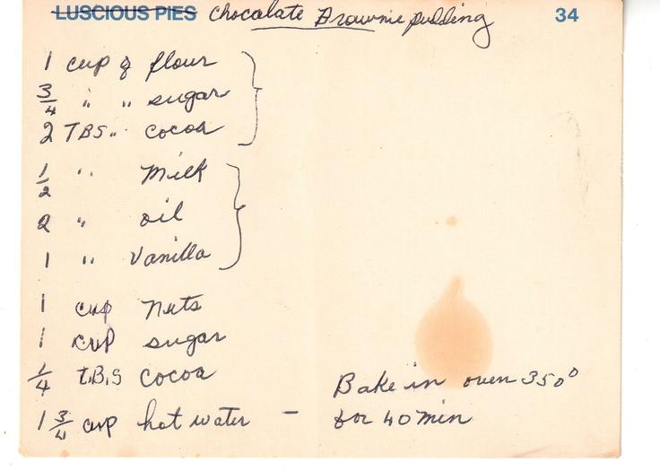 Chocolate Brownie Pudding | Vintage/Retro Recipes | Pinterest