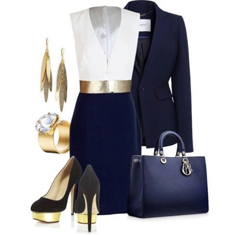 Navy Blue White and Gold Outfit