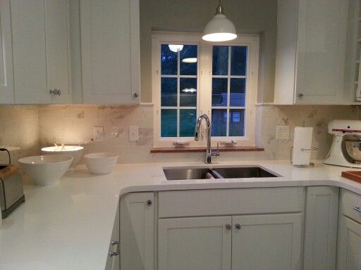 White Medallion Shaker Cabinets Kitchen Dreams Pinterest