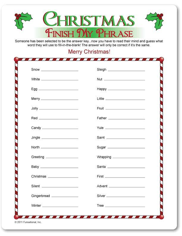 Printable Christmas Finish My Phrase - Funsational.com