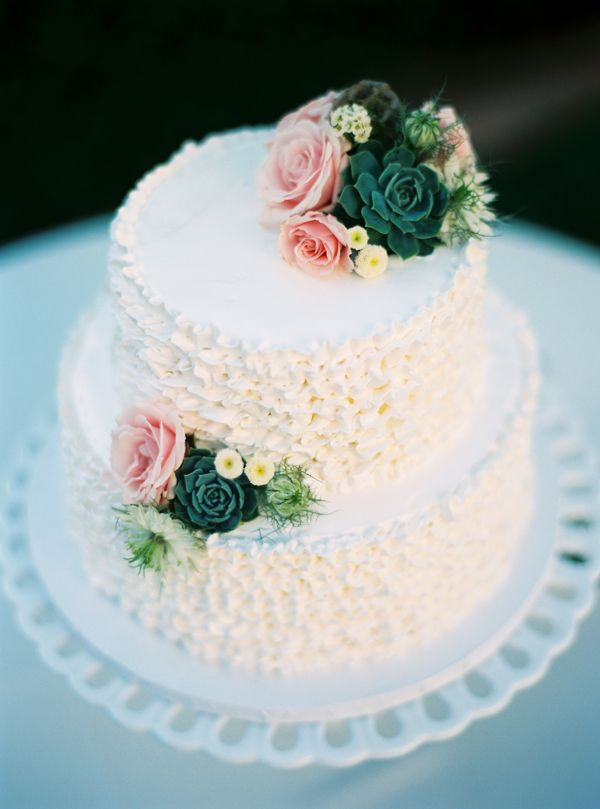 Succulent And Rose Wedding Cake From Flour Flower Designs Photo