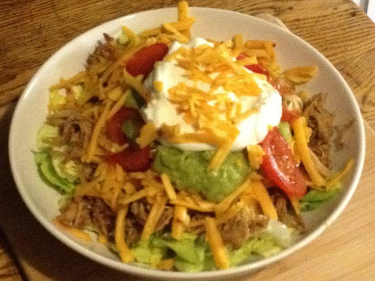 Shredded Chicken Taco Salad - so easy! | keto recipes | Pinterest