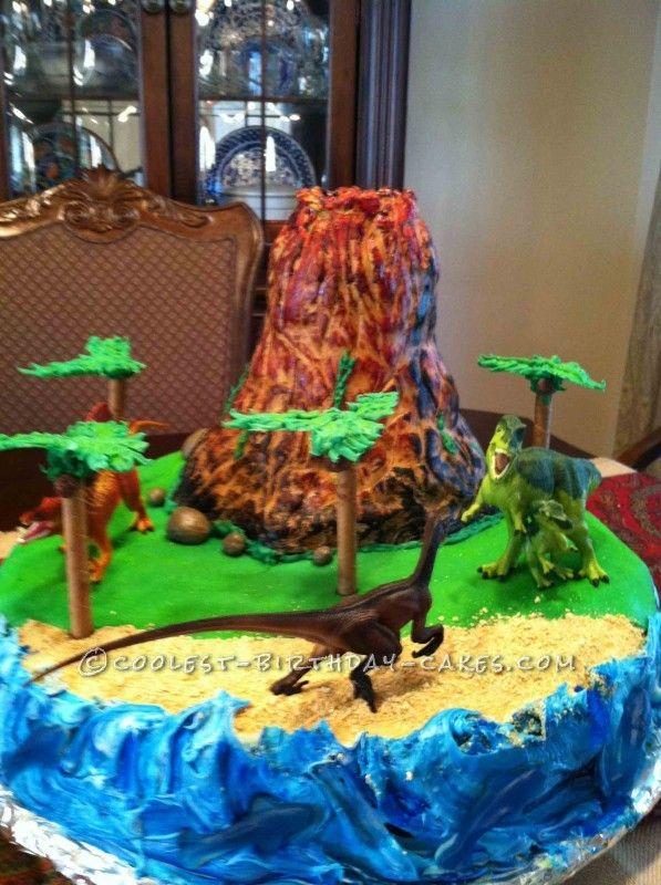 Easy Erupting Volcano Birthday Cake