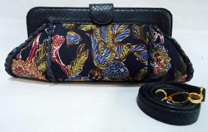 Clutch batik lawas pekalongan with black cobra leather made in ...