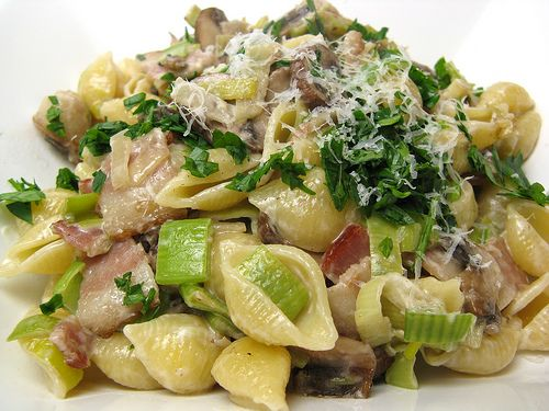 Pasta with Bacon, Leeks & Mushrooms   Food and Recipes and Cooking ...