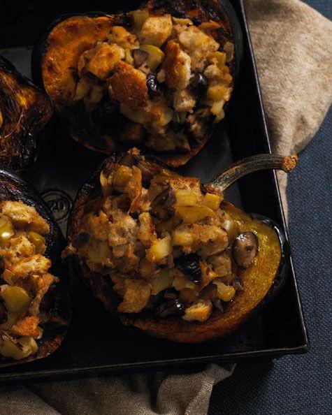 Acorn Squash w/ Apple Chestnut Stuffing: add fall spices #vegan
