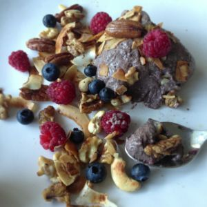 ... pudding with sizzling hot cinnamon & coconut oil sauteed nuts and