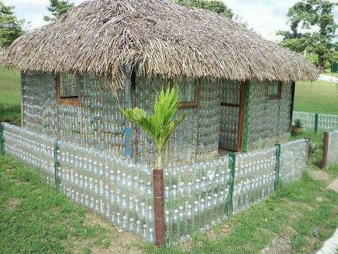 Plastic bottle hut