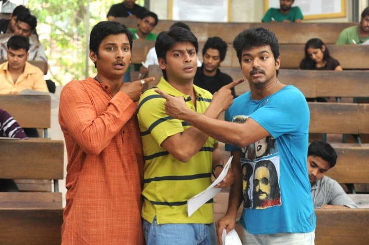 Three Idiots. No, no, that's not derogatory. This one is Nanban, the Tamil version of the Hindi hit.
