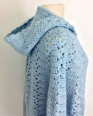Free Patterns Crochet Cape : Long Hooded Cape Crochet Pattern