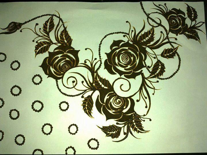 Rose Mehndi Patterns : Roses arabic henna design mehndi pinterest