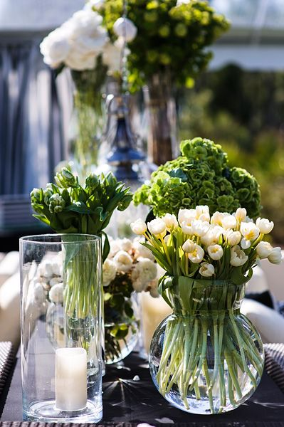 Green and white wedding centerpieces juhu pinterest