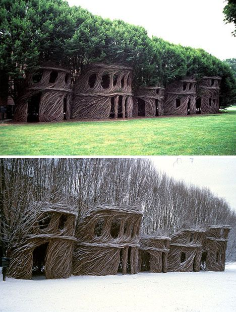 saplings grown into structures by Patrick Dougherty (super cool!)