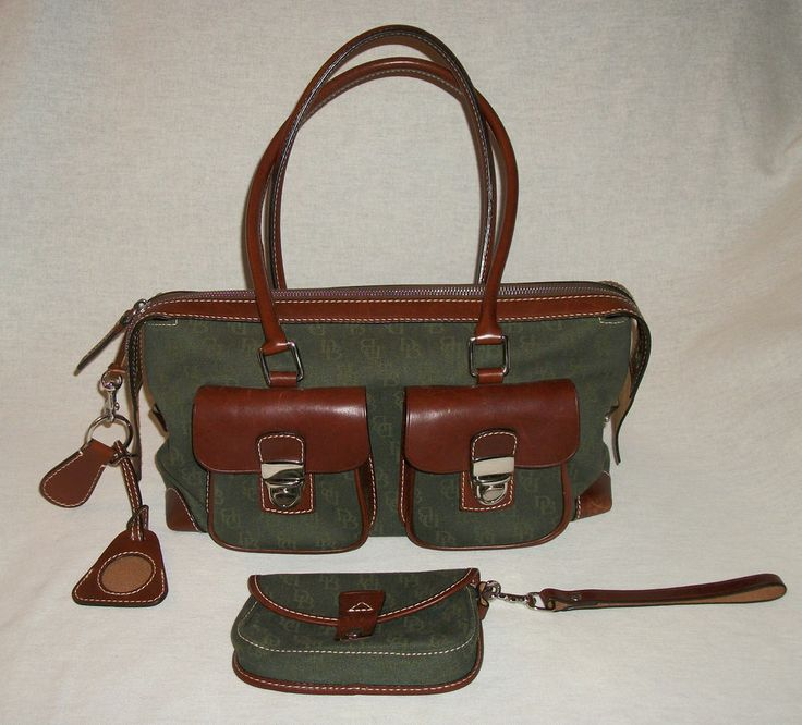 DOONEY & BOURKE 4 Pc Leather & Green Jacquard Double Pocket Satchel Handbag. Wonderful Condition! $72.88 obo (Free S&H)