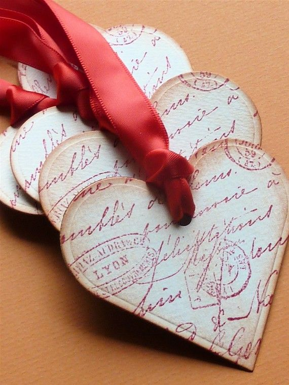DIY Vintage Style Heart Tags ~ Stamp or buy patterned paper and cut into heart shapes, Punch holes at the top and add satin ribbons for beautiful heritage romance page embellishments.