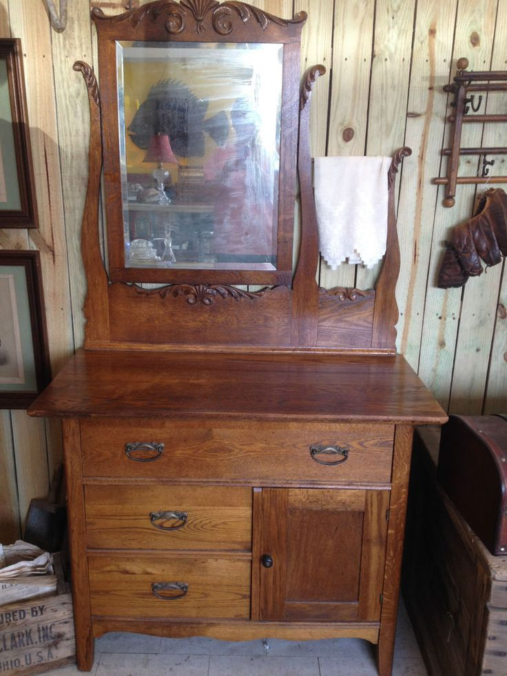 Vintage oak washstand w beveled mirror towel bar
