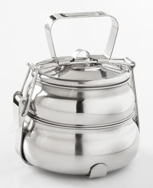 Tiffins: In India, everyone carries their lunch in a tiffin.  This is an unusually pretty one.  Lots more on site.