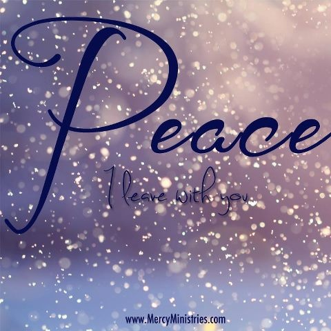 "~John 14:27~ ""Peace I leave with you.  My peace I give to you.  Let not your heart be troubled, nor be afraid."""