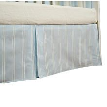 "16 inch Blue and Cream Stripe Box Pleat Crib Skirt - Go Mama Go - Babies ""R"" Us"