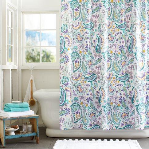 Swirly Paisley Shower Curtain   PBteen   Girls bathroom   Pinterest