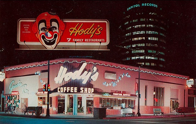 Hody's Family Restaurant. The children's menu was a clown mask.