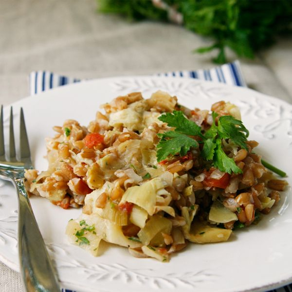 Warm Farro with Roasted Artichoke Hearts, Tomatoes and Leeks - Sarah's ...