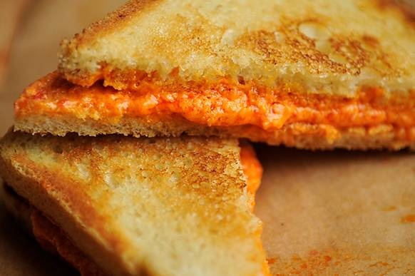 Grilled Pepper Cheese Sandwiches - these electric orange sandwiches ...