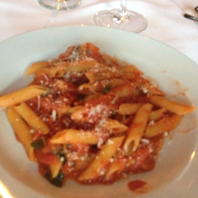 Penne with filetto di pomodoro which is made with pancetta, tomato ...
