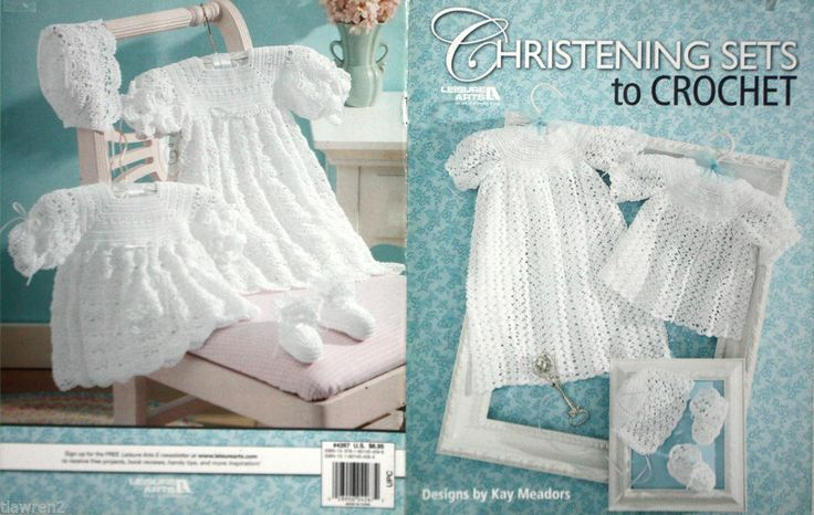 Free Crochet Pattern Baby Cradle Purse : Leisure Arts Kay Meadors Christening Sets to Crochet ...