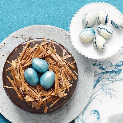 Chocolate Cake with Egg-shaped Truffles, perfect for Easter