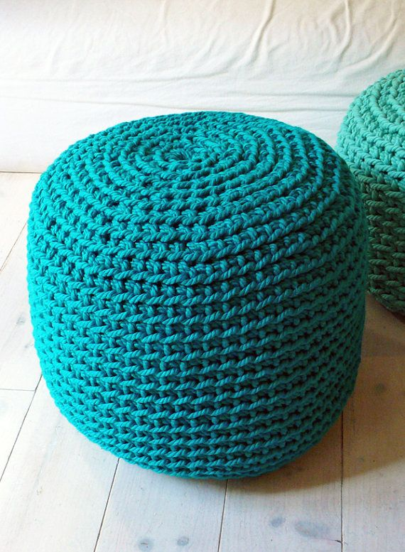 Crocheting With Thick Yarn : Pouf Crochet thick yarn Emerald by lacasadecoto on Etsy, ?85.00