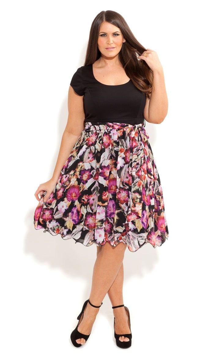 Plus Size Floral Siren Dress - City Chic - City Chic