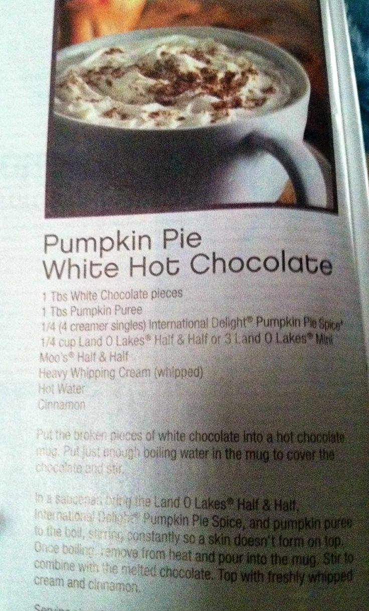 Pumpkin Pie White Hot Chocolate | Desserts | Pinterest