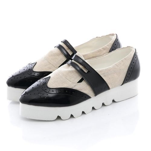 Women s Platform Wedge Sneakers Slip on Brogue Creepers Tennis Shoes
