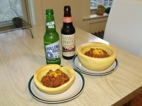 Yeast raised cornbread bowl for chili and an ice cold beer on the side ...
