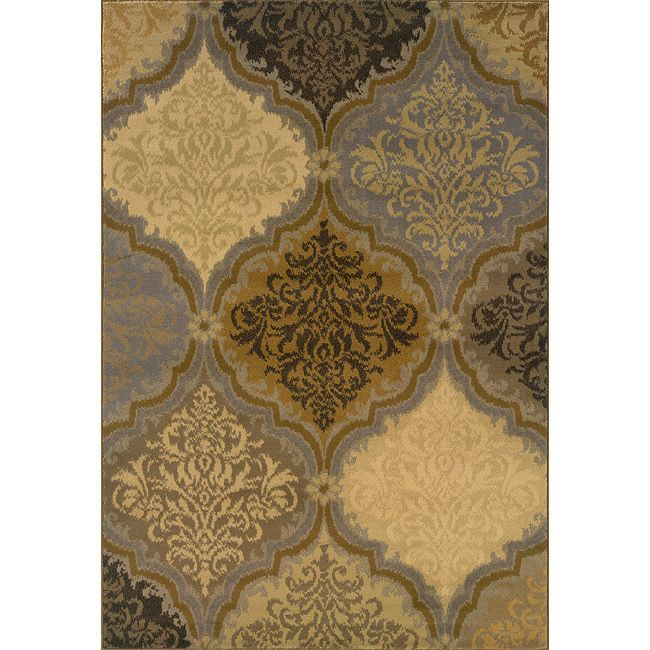 Grey And Gold Transitional Area Rug (7'8 X 10'10