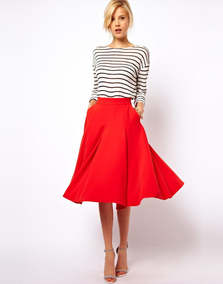 Midi skirt with pockets {Asos, $76}