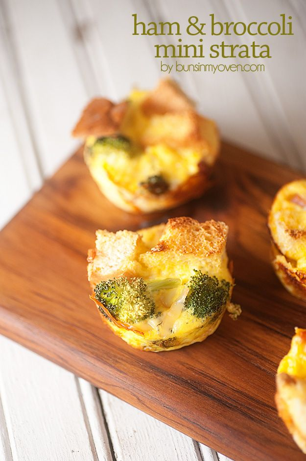 ... breakfast or brunch! Ham and Cheese Strata baked in a muffin tin