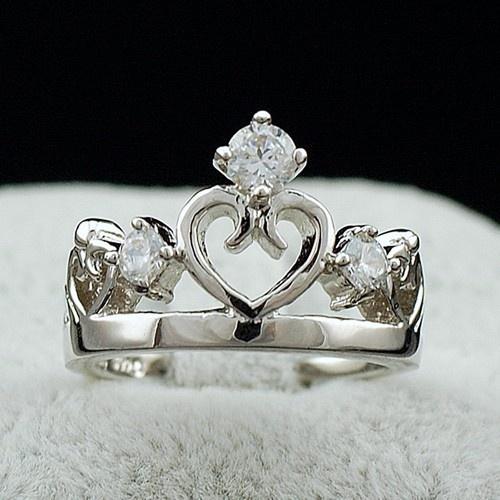 Hollow Heart Cut out Crown CZ 925 Silver   Favorite Crowns   Pinterest