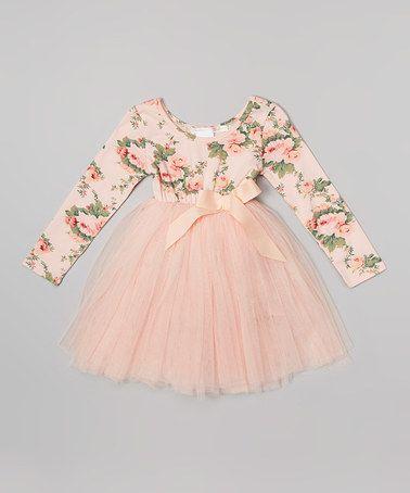 Designer Kidz Peach Floral Long Sleeve Tutu Dress Infant
