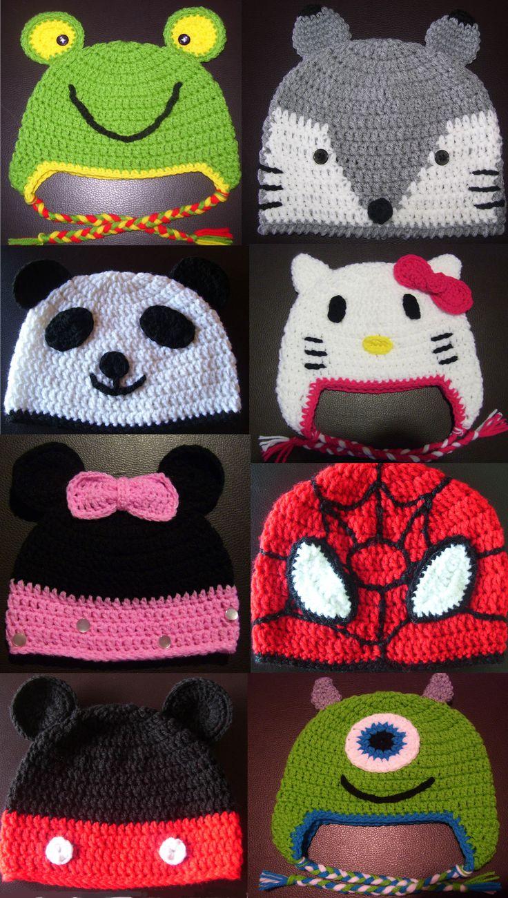 Gorros a crochet para beb�s, ni�os y adolescentes