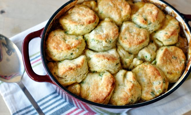 Curried beef pot pie with biscuit topping